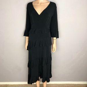 INC International Concepts Midi Dress Black Ruffle
